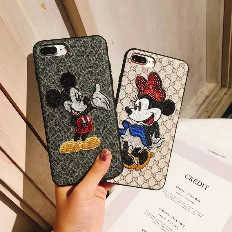 Phone Cases For Iphone 7 8 Plus 6 6s Plus X Cute Mickey Minnie Mouse 3D Embroidered Phone Cases Cover Shell Funda Capa Coque