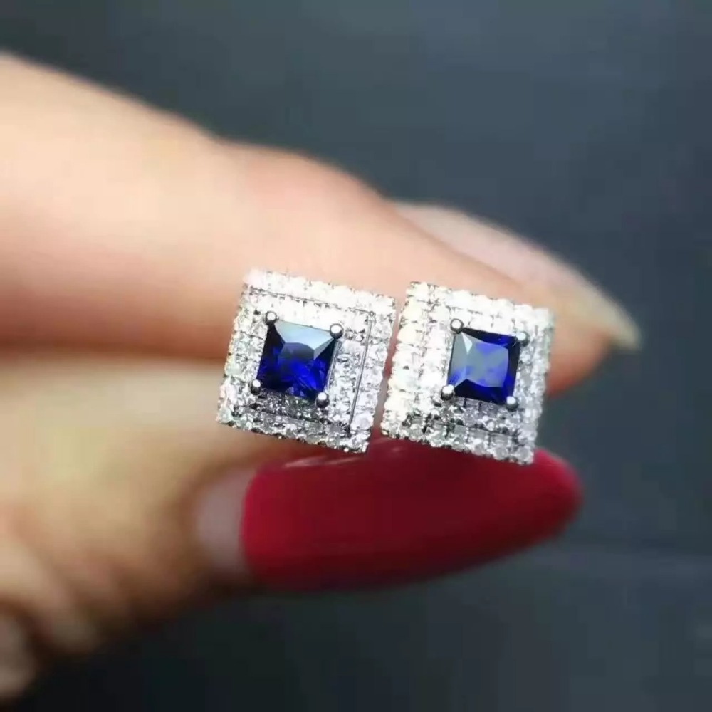 все цены на natural sapphire stone earrings 925 silver Natural gemstone earring women classic fashion square fine earrings jewelry for party онлайн