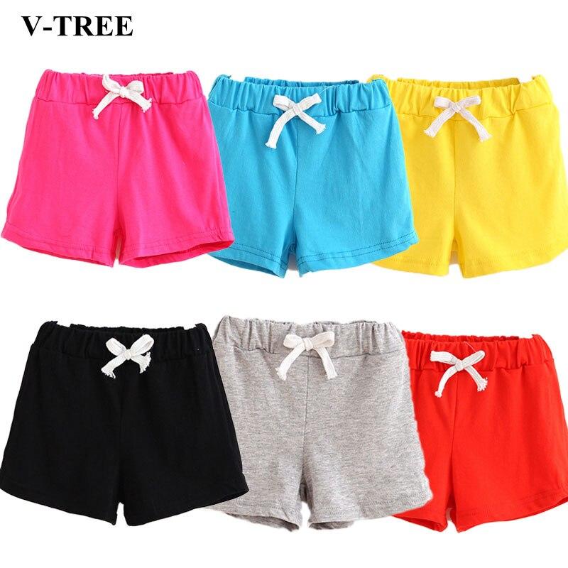 V-TREE Girls Shorts Summer Shorts For Boys Cotton Kids Shorts Children Beach Shorts Clothes Toddler Baby Clothing Pants