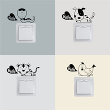 Di hola lindos animales pegatinas para interruptor de pared decoración del hogar recordatorio luminoso cartel de vinilo niños dormitorio D(China)