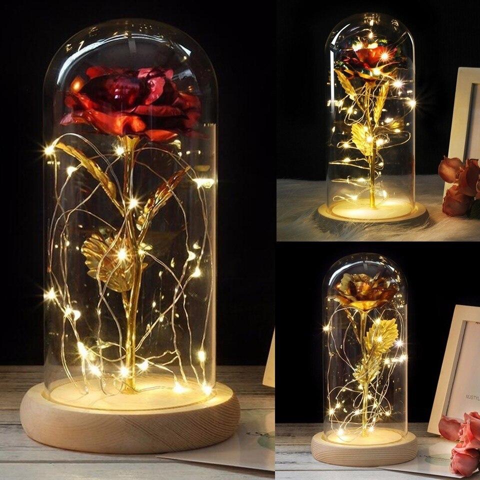 Rose en flacon lampe de nuit Luminaria Lampara Rose rouge avec lumière LED en verre dôme pour fête de mariage cadeau fête des mères