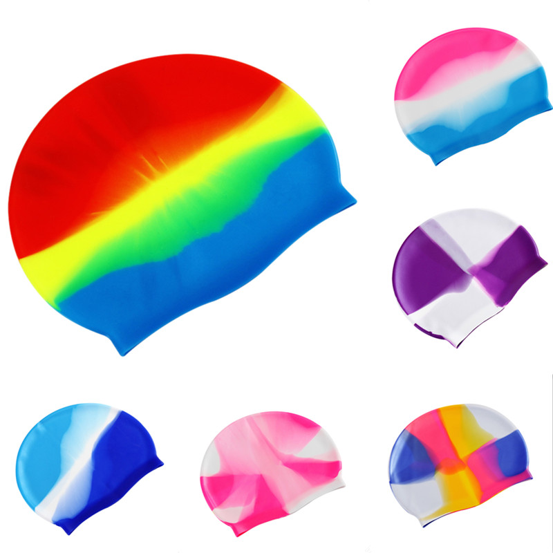 Rainbow swimming cap men women swimwear silicone swim cap - Swimming pool accessories for adults ...