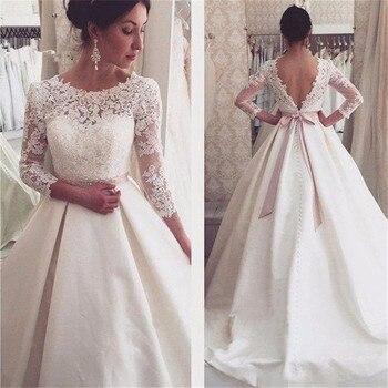 Scoop Neck Long Sleeve Backless Lace Appliques Wedding Dress New 2020 A Line Bridal Gowns Vestido De Noiva