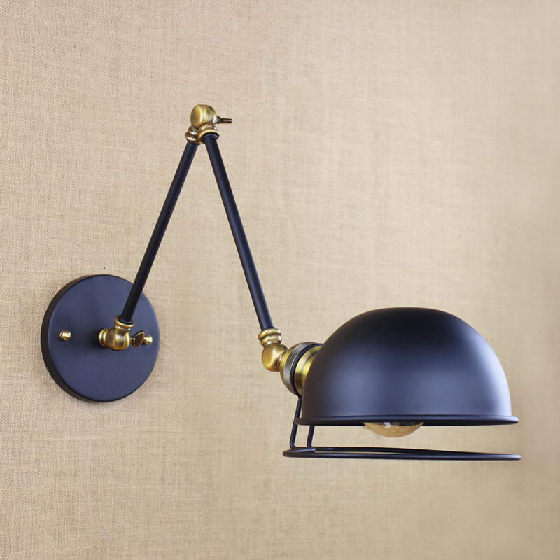 Industrial style antique retro black metal wall lamp swing arm wall industrial style antique retro black metal wall lamp swing arm wall lighting for workroom bathroom vanity 2 applies arm tornado in wall lamps from lights mozeypictures Images