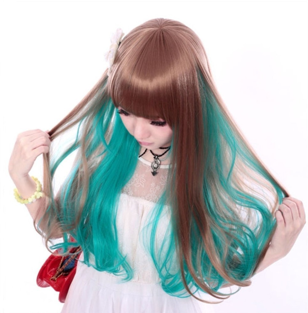Blue Light Hair Harajuku Anime Wig Cosplay Short Wavy Heat