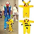NewCute Ropa de Bebé Recién Nacidos Del Bebé Niños Niñas de Dibujos Animados en 3D Pikachu Traje de Algodón de Manga Larga Romper Playsuit Mamelucos Encapuchados