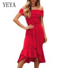 YEYA Summer Women Off Shoulder Slim Irregular Ruffles Dress Lady Elegant Lace Up Bodycon Workwear Fsahion Party Wear
