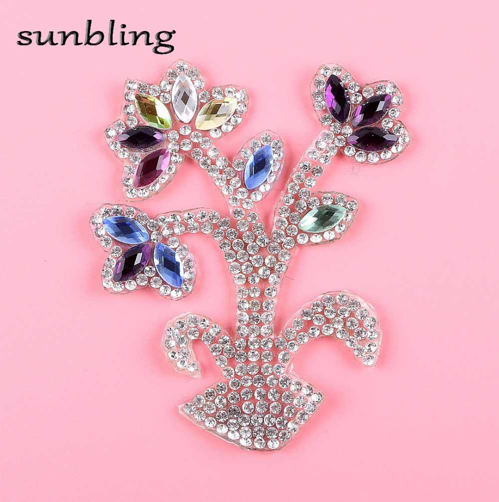 Detail Feedback Questions about wholesale DIY patches DMC Class good  quality rhinestone floral pattern mixed color crystal iron on hotfix  fashion patch ... a507bb23dd01