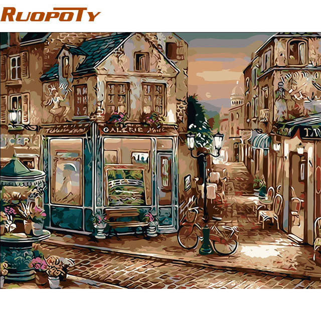 RUOPOTY Vintage Oil Painting Europe Coffee Shop DIY Painting By Numbers Hand Painted Wall Art Picture For Home Decor Artwork
