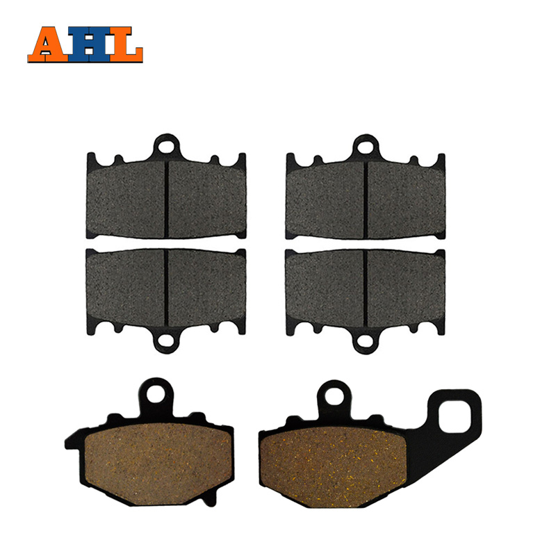 AHL Motorcycle Front and Rear Brake Pads for KAWASAKI ZZ-R 400 ZZR400 (ZX 400 N) 1993-1999 Black Brake Disc Pad Kit motorcycle front and rear brake pads for yamaha fzr 400 a fzr400a 1990 brake disc pad