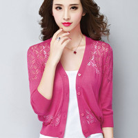 Women S Spring And Summer Slim Type Hollow Out V Neck Air Conditioning Cardigan Unlined Upper