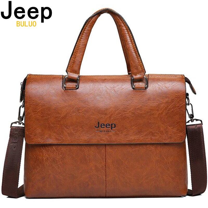 JEEP BULUO Homme porte-Documents mode sacs à main pour Homme Sacoche Homme Marque Homme sac en cuir pour A4 Documents 13 ordinateur portable 6015