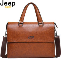 JEEP BULUO Men's Briefcase Fashion Handbags For Man Sacoche Homme Marque Male leather Bag For A4 Documents 13 Laptop 6015