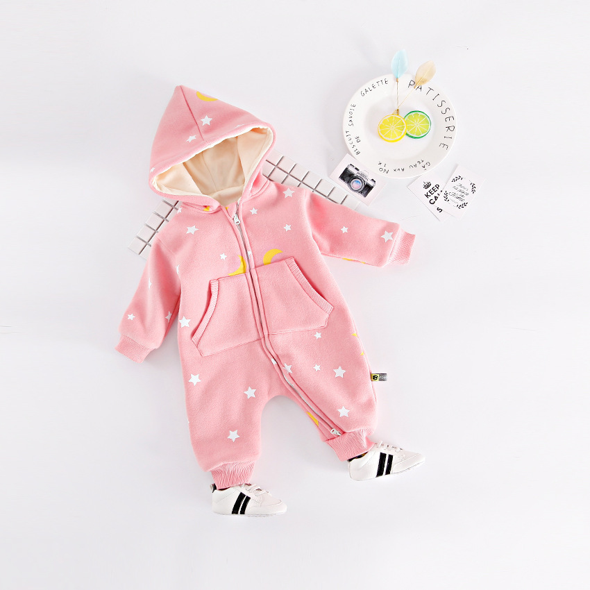 Winter New Born Baby Jumpsuit Baby Girl Costume Stars Clothes Moon Clothes Zipper Cap Rompers dinstry 2018 new born baby clothes bird print baby jumpsuit summer baby rompers baby cotton dress