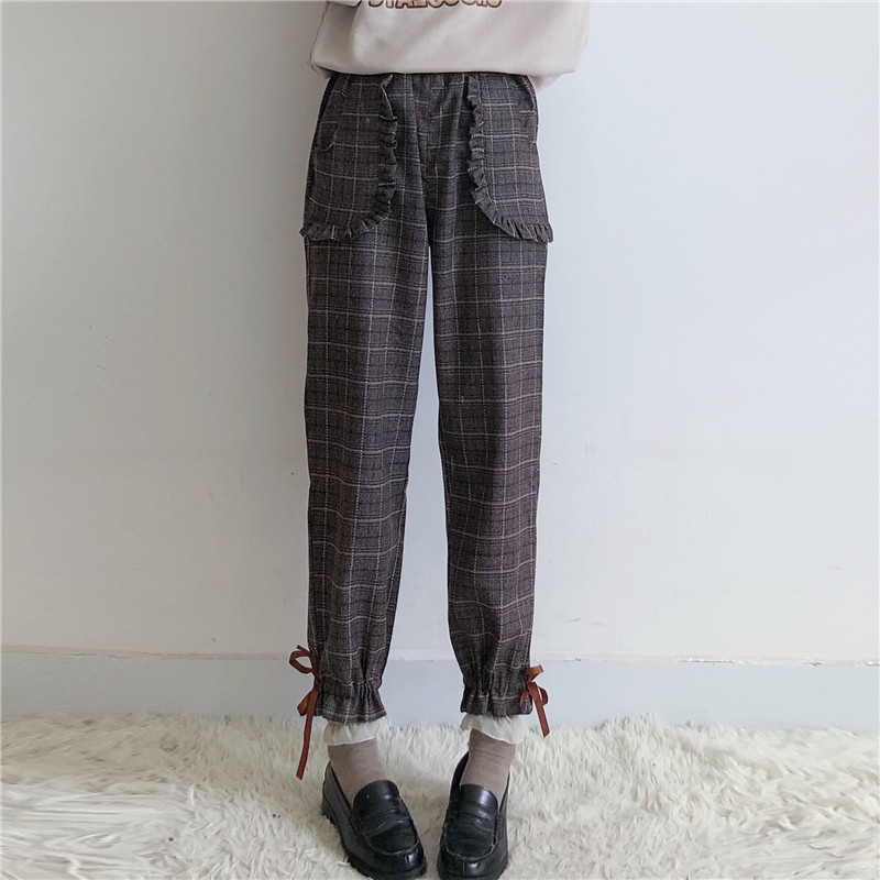 Japan Style Spring Autumn Women Pants Elastic Waist Mori Girl Plaid Harem Ankle-Length Pants