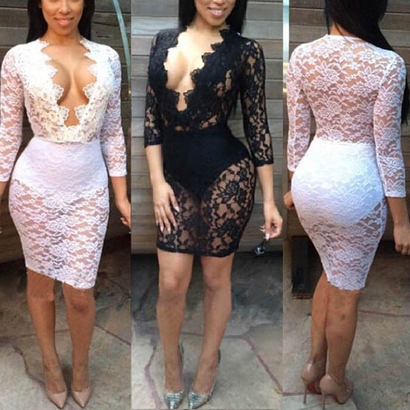 Mesh lace dress white.