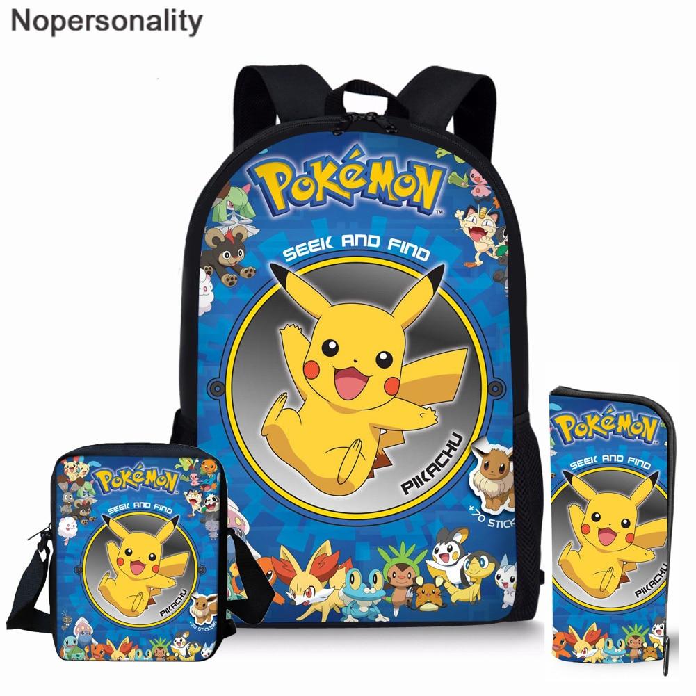 Nopersonality Boys Anime Pokemon Backpack Pikachu Print Kids Bag Teenager Boys Girls School Bags Children Rucksack Book Bag Sets