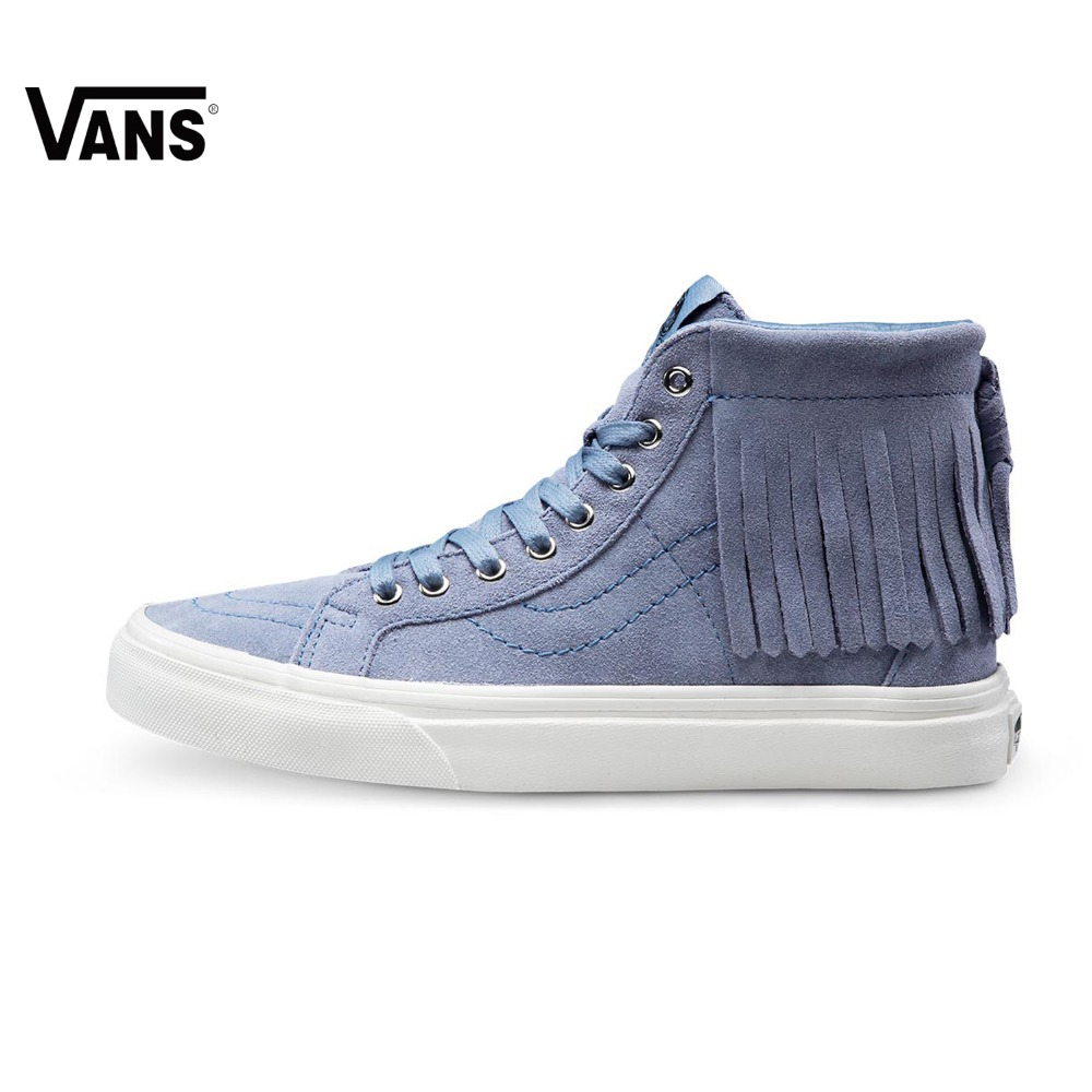 Original Vans New Arrival Black and Blue Sk8-HI High-Top Women's Skateboarding Shoes Sport Shoes Canvas Shoes Sneakers цена