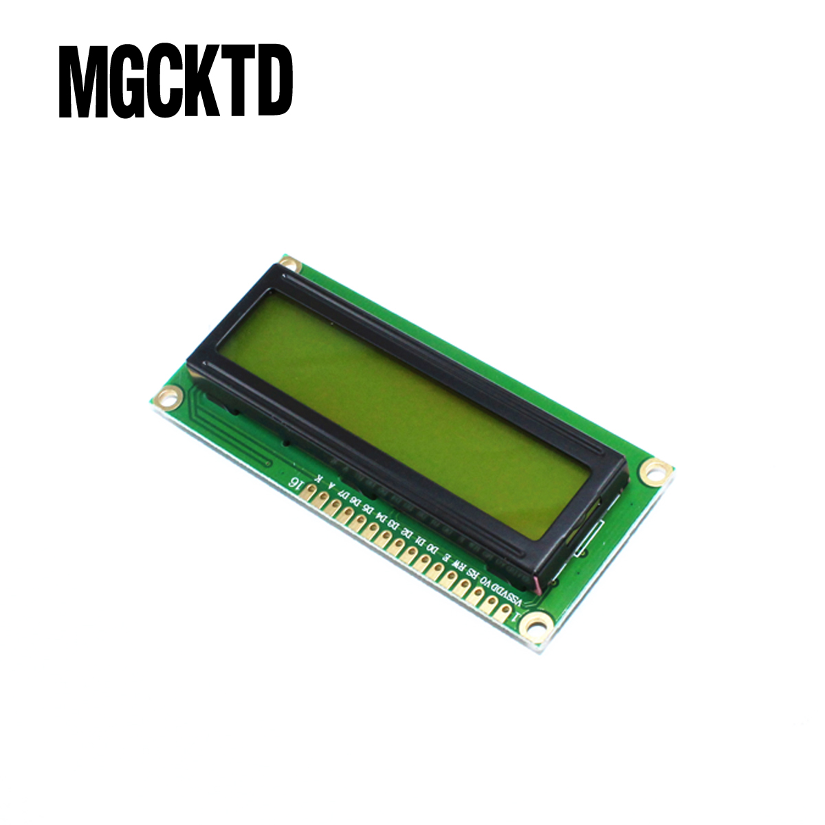 5 unids/lote 1602 LCD 16*2 caracteres pantalla del módulo LCD/LCM con amarillo verde