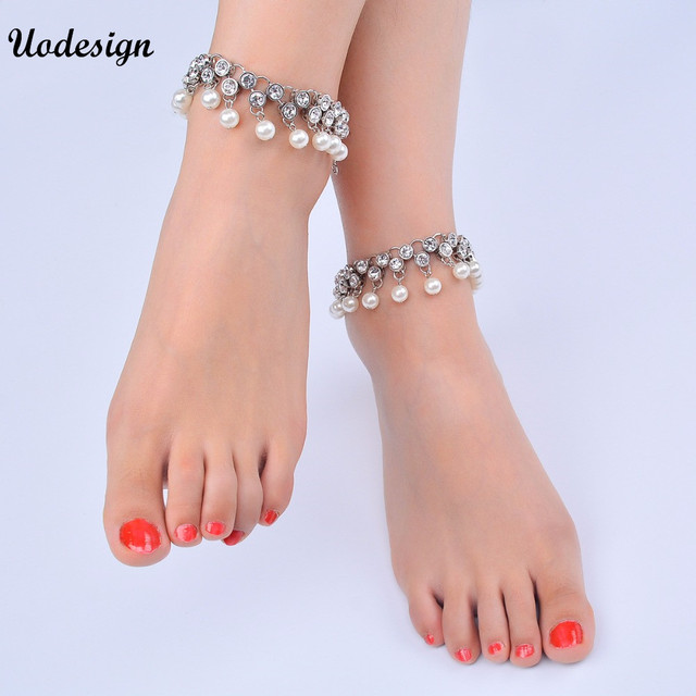 40e68d664 1 Pc Silver Color Fashion Beach Barefoot Sandals Anklet for Women Chain  Beach Holiday Round Crystal Ankle Bracelet Foot Jewelry