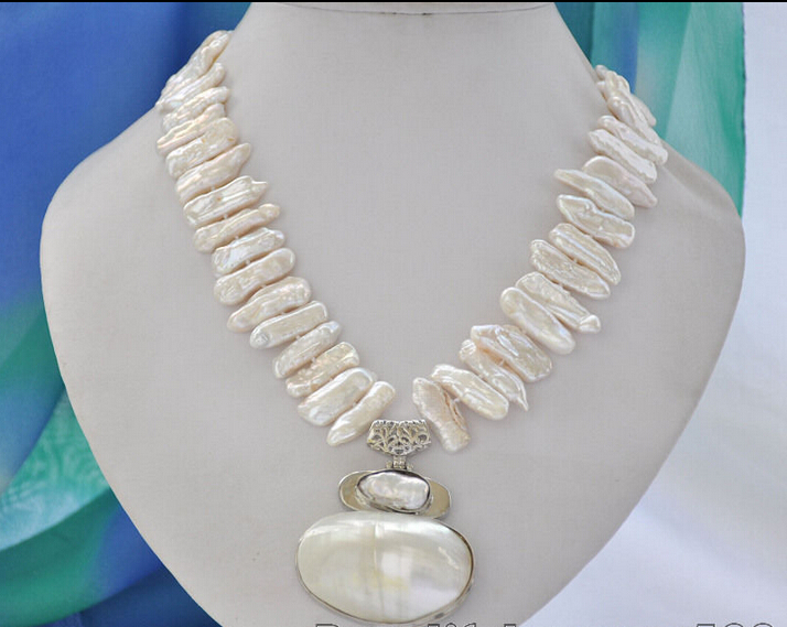 FREE shipping> >>>z6770 25mm white biwa dens freshwater pearl necklace mabe pendant 17inch