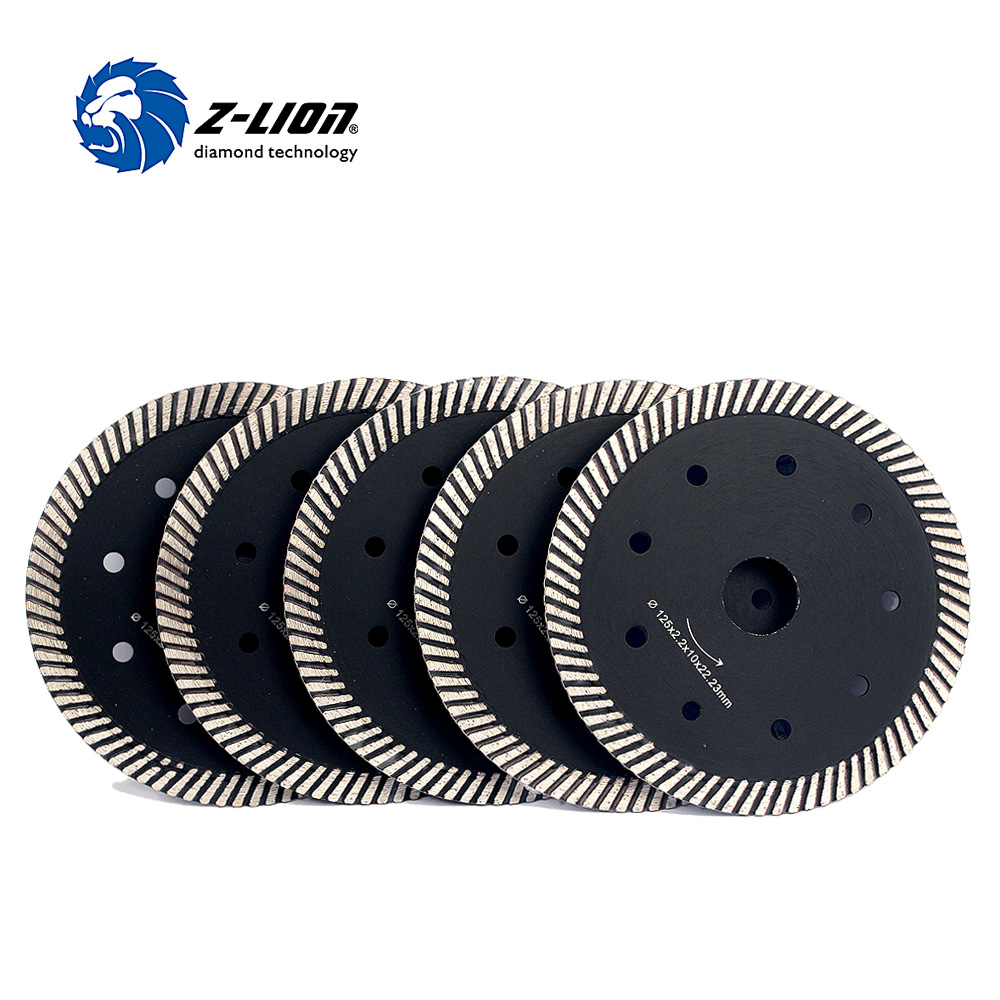 Z-LION 5 5pcs/Lot Turbo Rim Dry Cutting Disc Diamond Saw Blade 125mm Diamond Wheel For Cutting Granite Marble Tile 8 200mm diamond dry cutting disk saw blade plate wheel with long short protective teeth for dry cutting granite sandstone