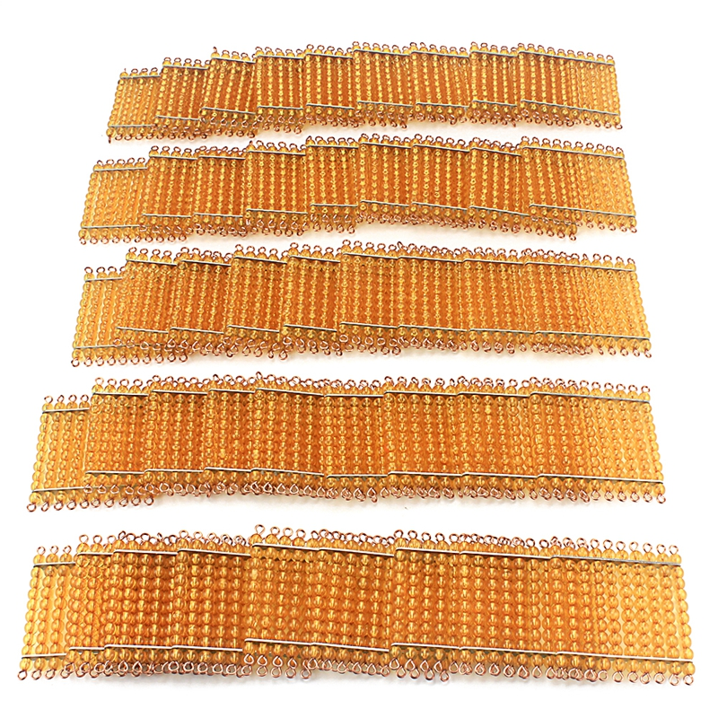 Montessori Materials Math Toy Golden Beads 45Pcs Squares for Hundred 100 Golden Beads Toys for Children
