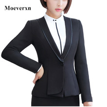 Women Ruffle V-Neck Long Sleeve Blazer Femenino Autumn Single Button Slim Fit Formal Office Blaser Female OL Style Ladies Jacket
