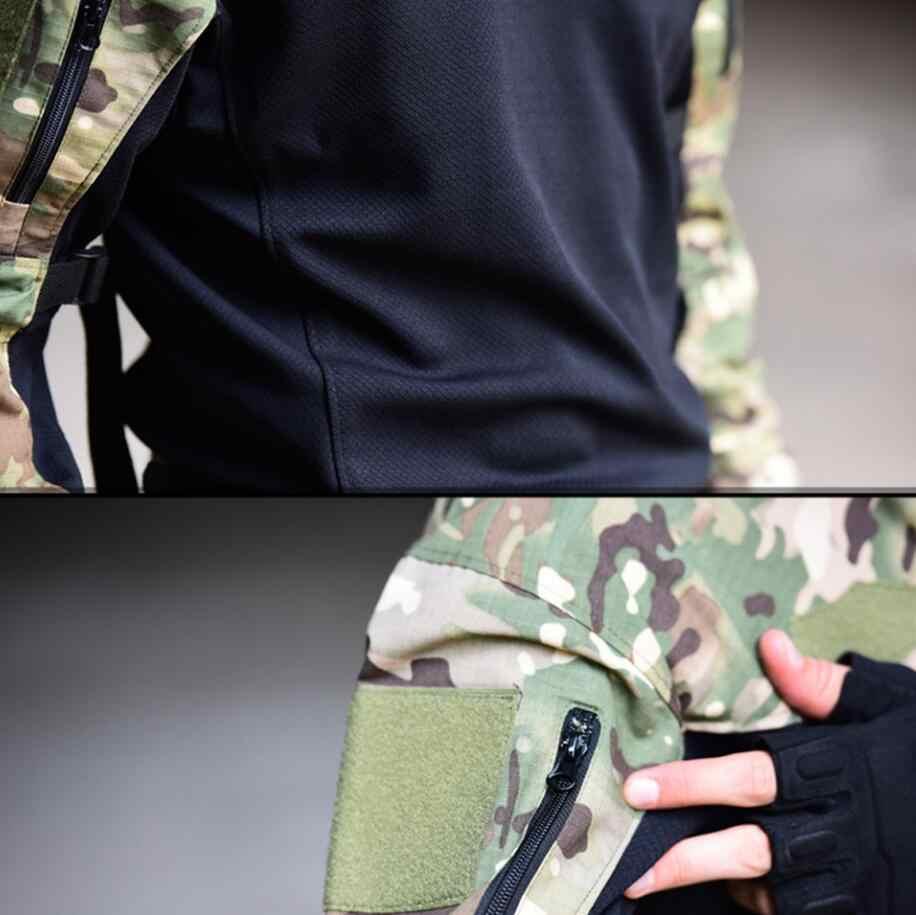 Pria Seragam Militer Taktis T-shirt Lengan Panjang Tentara Memukul Bernapas Cepat Kering Kaos Army Airsoft Pakaian
