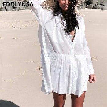 9853864c Vestido de Playa de Saida de Praia de algodón Playa Cover up Kaftan Playa  Pareos de Playa Mujer Bikini de encaje cubrir traje de baño cubierta # Q662