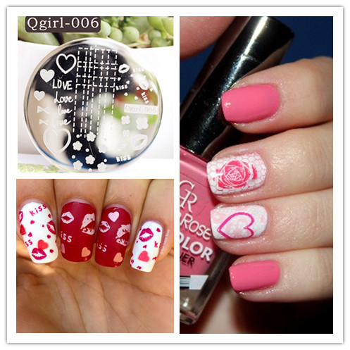 Aliexpress buy 1 pc heart love kiss cute image design nail 1 pc heart love kiss cute image design nail art stamp stamping template image plate pattern prinsesfo Image collections