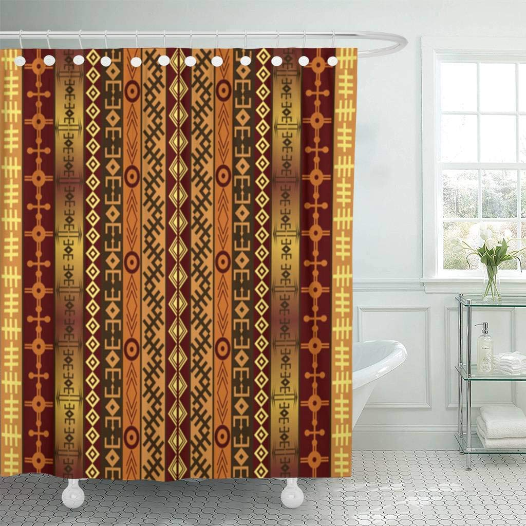 Us 17 34 35 Off Fabric Shower Curtain Brown Africa African Motifs On Ethnic Indian Tribal Material Native Culture Abstract Bathroom Curtains In