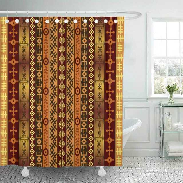Fabric Shower Curtain Brown Africa African Motifs On Ethnic Indian