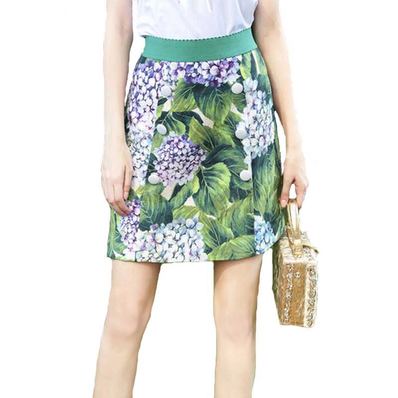 2018 Spring Summer Fashion Designer Skirt Women's High Quality White Button Flower Printed Jacquard Mini Skirt