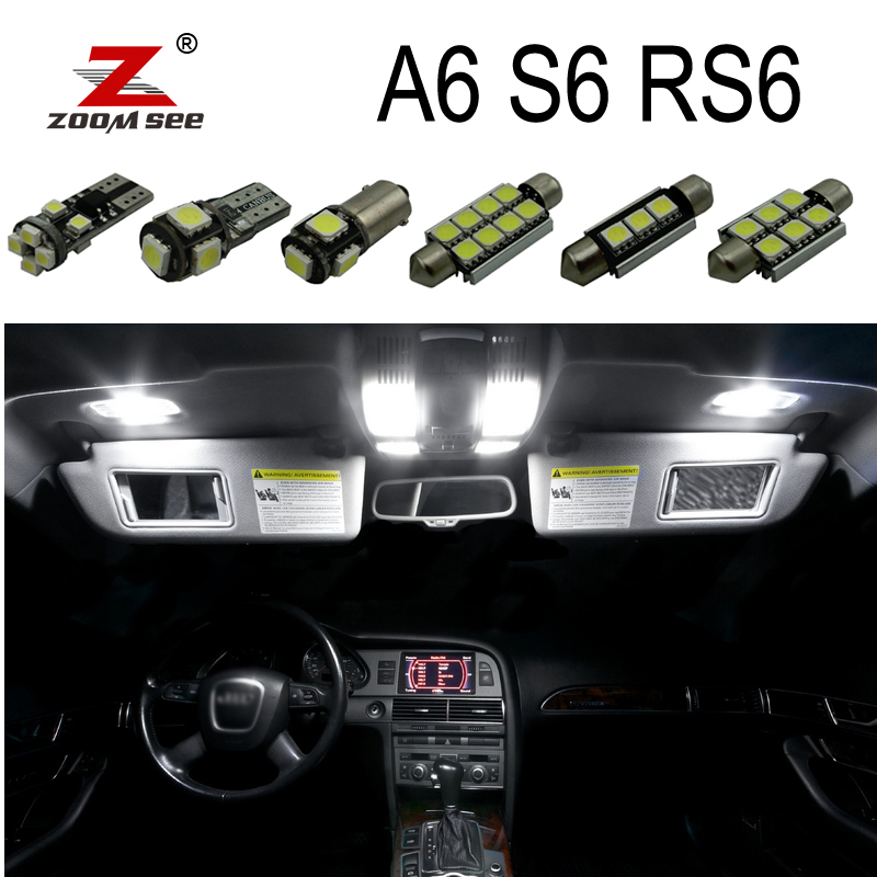 100% White Canbus Error Free LED bulb interior dome map light Kit for Audi A6 S6 RS6 C5 C6 C7 (1994-2016)) 15pc x 100% canbus led lamp interior map dome reading light kit package for audi a4 s4 b8 saloon sedan only 2009 2015