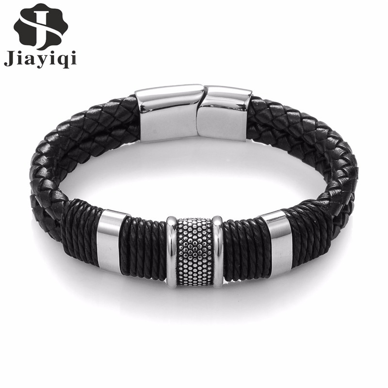 Jiayiqi 2017 Fashion Black Braid Woven Leather Bracelet Titanium Stainless Steel Bracelet Men Bangle Men Jewelry Vintage Gift купить в Москве 2019