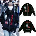 ALLKPOPER KPOP BTS JIMIN Velvet Embroidery Padded Coat Bangtan Boys Varsity Black Jacket Outwear