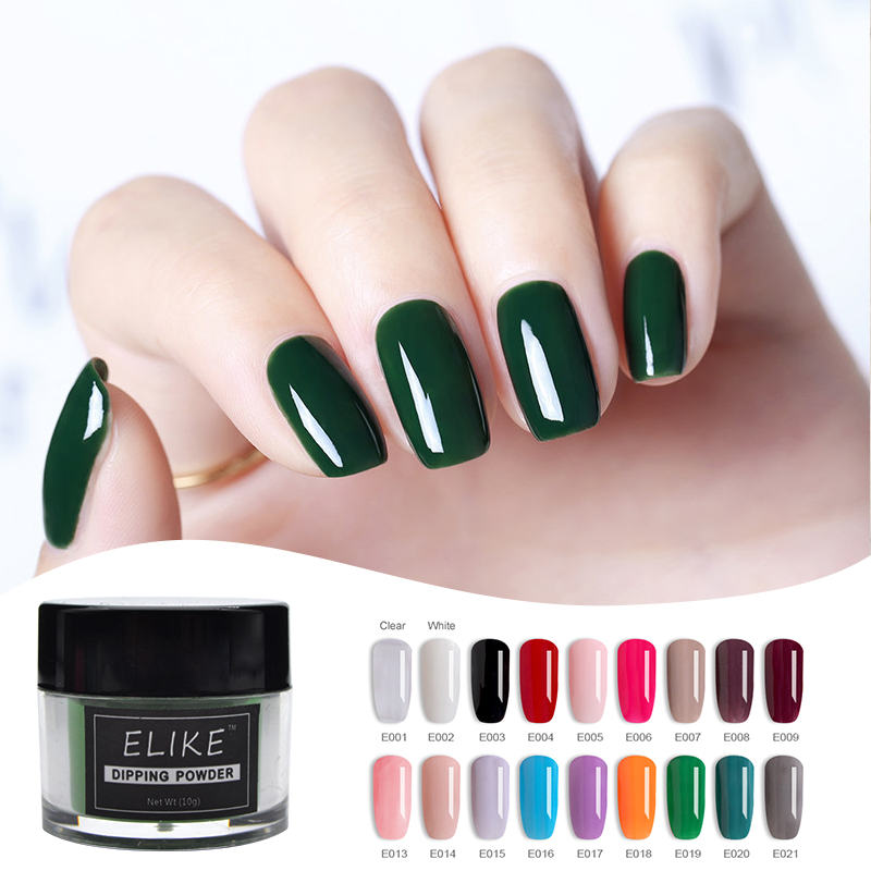 ELIKE glisten dip powder 10g without lamp cure natural dry easy soak off 2019 fashion latest nail system salon