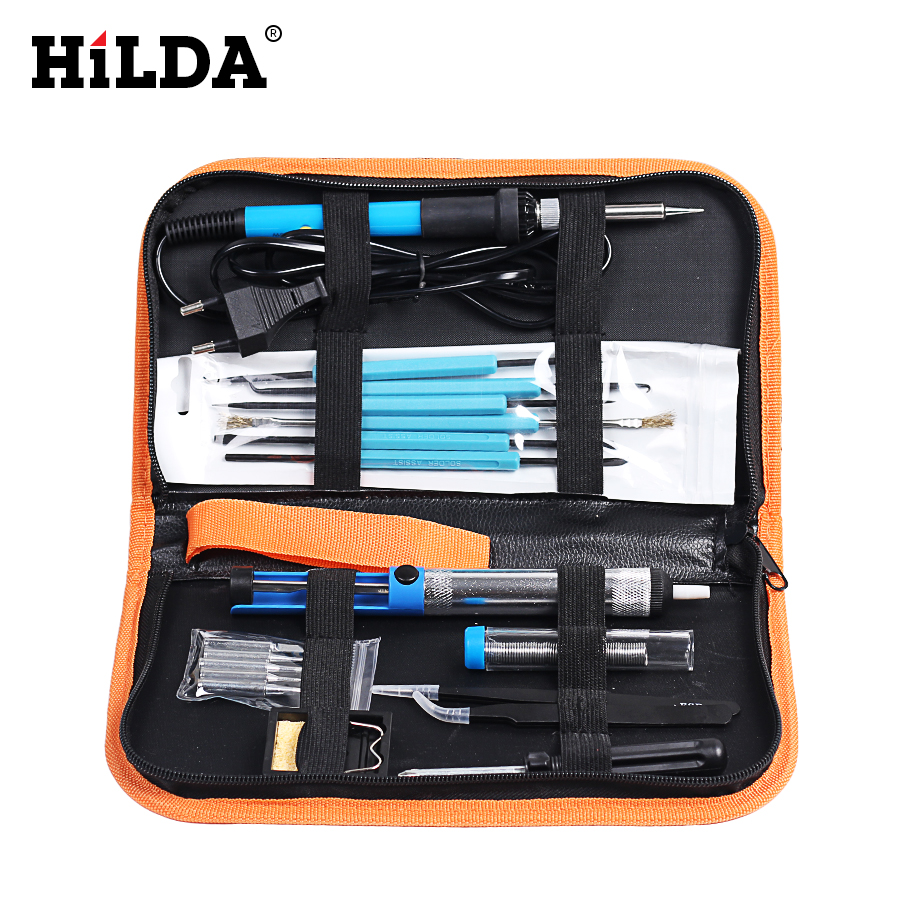 HILDA 60W Adjustable Temperature Electric Soldering Iron Kit with 5pcs Tips Portable Welding Repair Tools