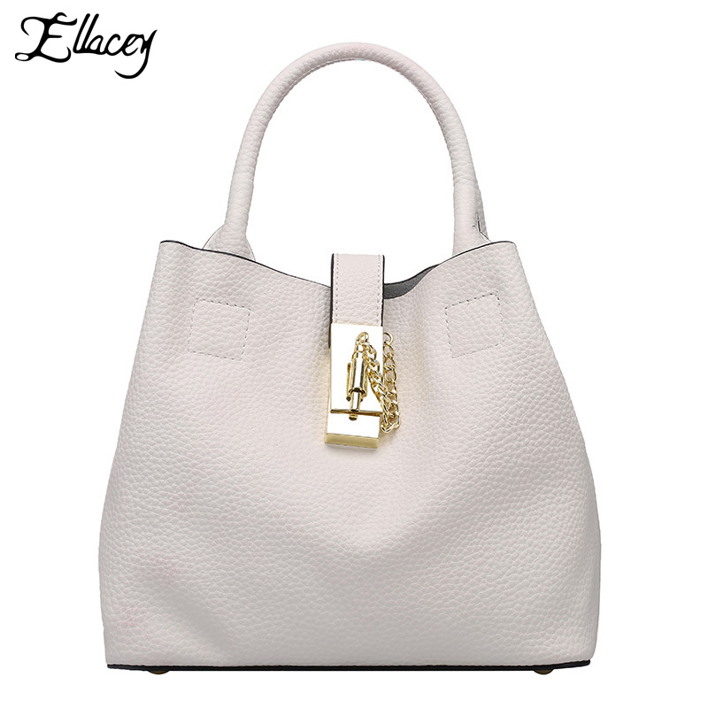 ФОТО 2016 Women Leather Handbag Fashion Bucket Bag Famous Brand Lady Mortise Lock Shoulder Bag Female Casual Capacity Handbag