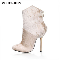Newest Designer Sweet Pink Velvet Dress Boots Pointed Toe Stiletto Heels Ankle Boots Delicate Boots