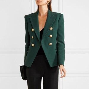Image 1 - באיכות גבוהה הכי חדש 2020 מעצב בלייזר נשים של ארוך שרוול טור כפתורים כפול מתכת האריה כפתורים בלייזר מעיל חיצוני כהה ירוק