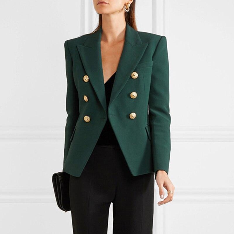 Haute qualité date 2018 Designer Blazer femmes à manches longues Double boutonnage métal Lion boutons Blazer veste extérieur vert foncé