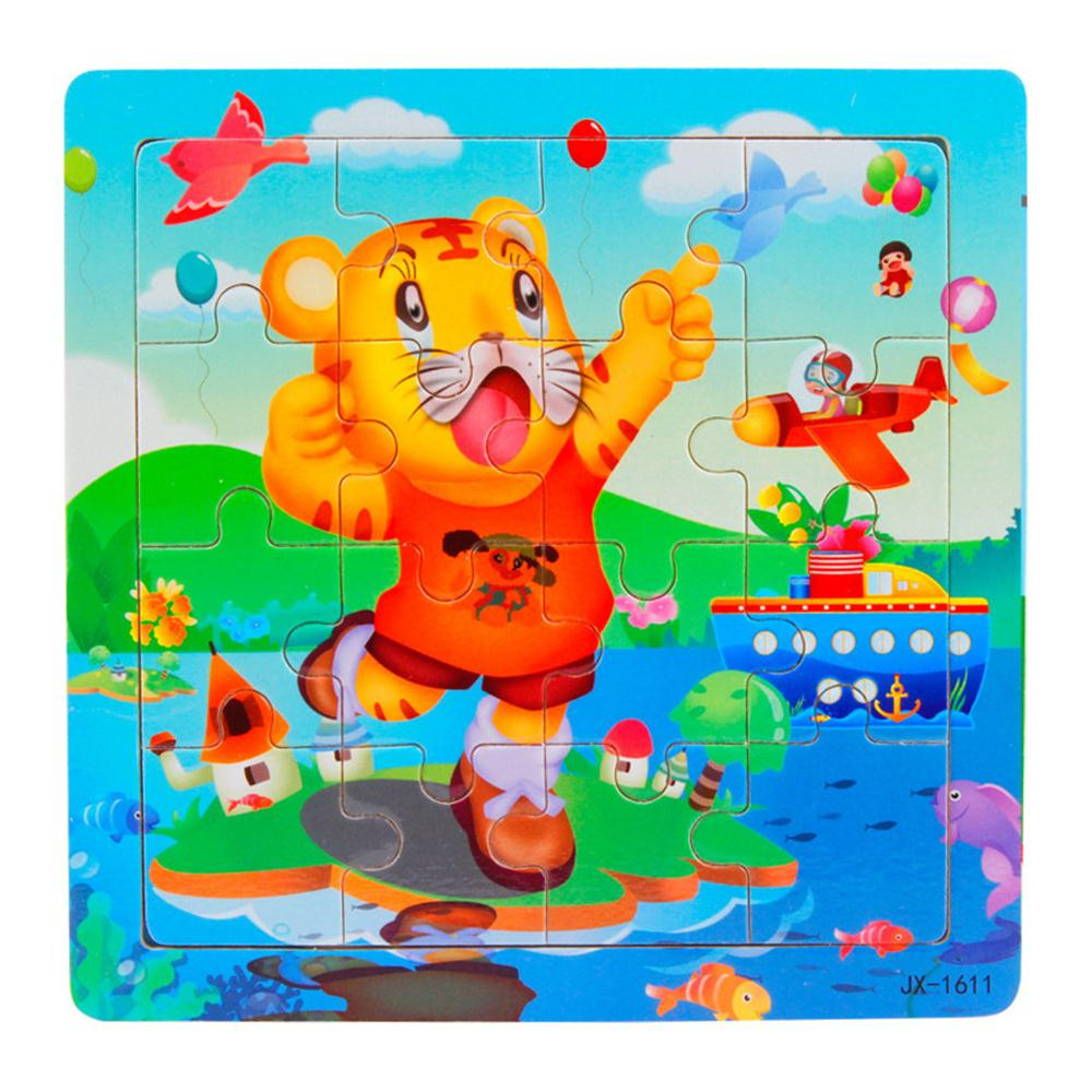Wooden Toys Building Tiger Learning For Baby Educational Puzzles For Children 3D Puzzle Wood Kids Toy 16 Piece Puzzel JA29a
