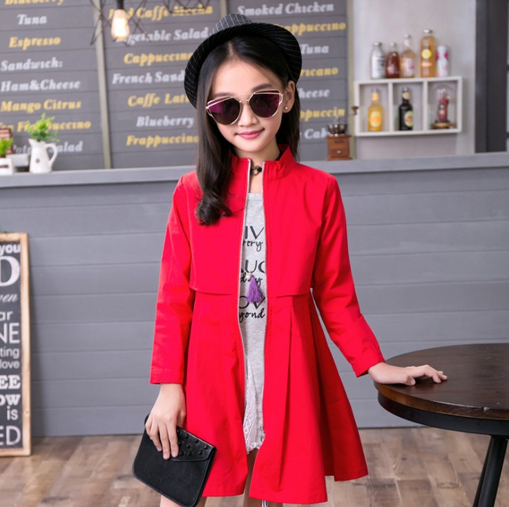 Zipper Design Fashion Girl Kids Jackets 3 Colors Red Green Pink Trench Coats Girls Windbreakers Spring Autumn Teenage Outerwear