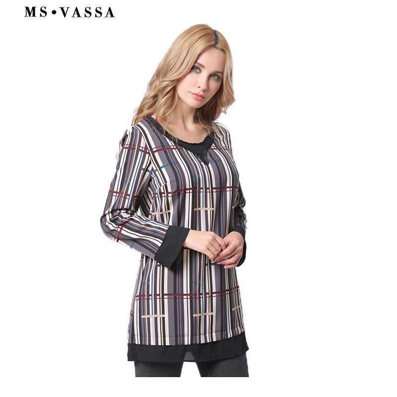 88f1d479c04 ... MS VASSA Для женщин футболка 2018 новый летний Повседневное Топы в  полоску с длинными рукавами футболка ...