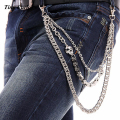 "25"" Men's Three Strands Skull Link Motorcyle Key Jean Wallet Chain 3 Layer Waist  Punk Hook Silver Trousers Pant Belt Chain KB23"