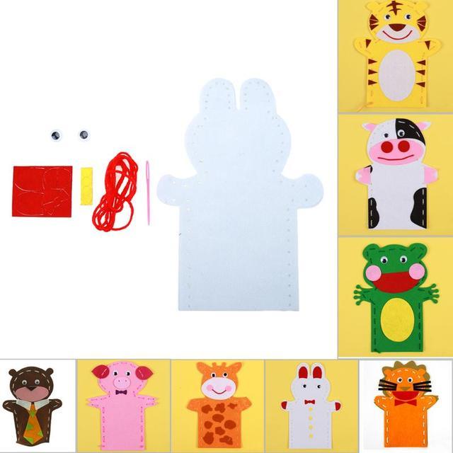 3D Artesanato Handmade Crianças Criança Atividade Criativa Top Acessórios DIY Fantoche Fantoche de Mão Não-Tecido de Pano Animal DIY Costura brinquedos