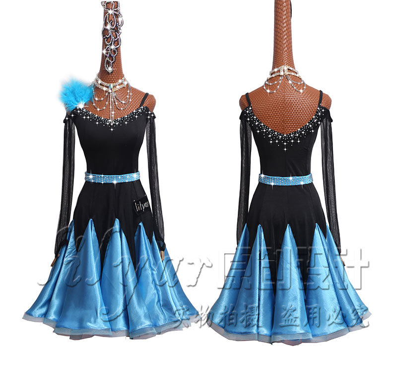 Strass scintillants nouveau haut de gamme femmes robe de danse latine à manches longues robes de concours de danse de salle de bal danse latine porter ceinture
