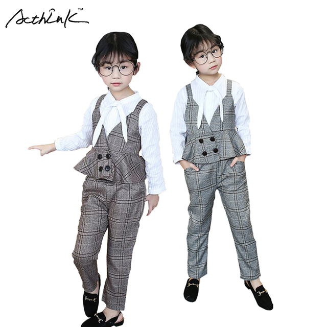 fb6eeab32f7 ActhInK New Kids Formal Wedding 3Pcs Blouse+Pants Suit Girls Plaid Clothing  Set British Style Waistcoat Suits for Girls